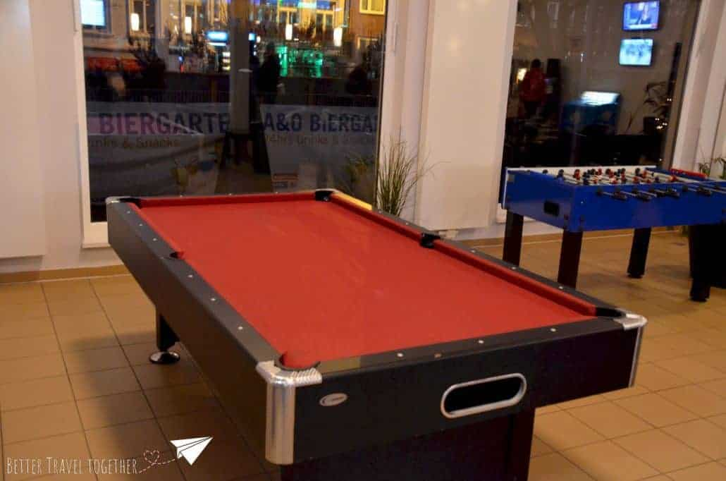 Pooltable in the lobby of A&O hotel hostel Aachen