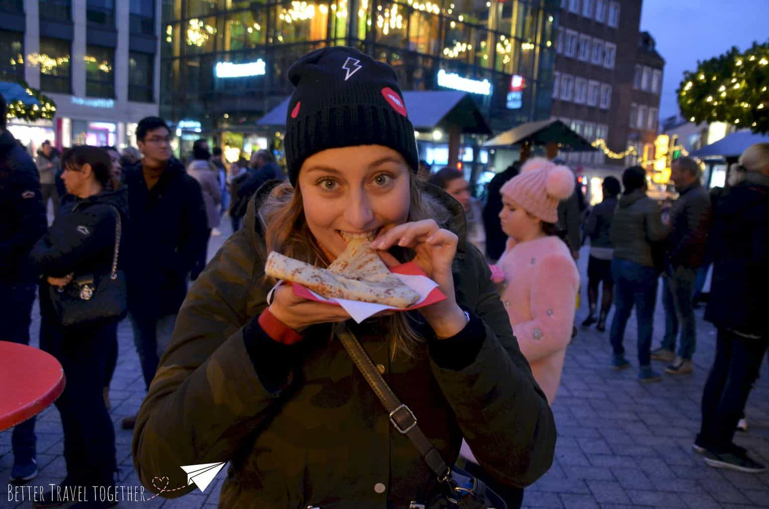 Katrijn with a nutella pancake crepe