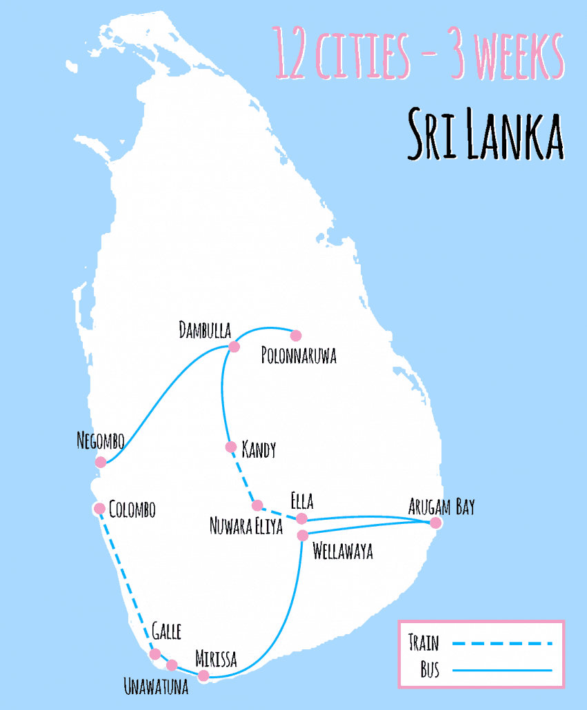 map 3 weeks sri lanka 12 cities