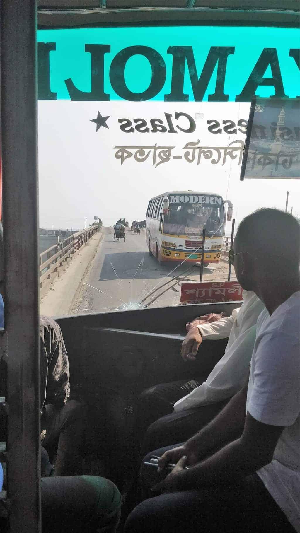 bus with broken window shyamoli